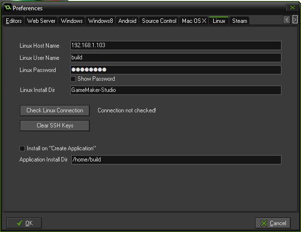 GameMaker Linux Settings